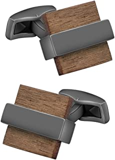 Natural Wood Cufflinks Men's Handcrafted Square Wood Cuff Links Set Classic Wedding Business Gift for Men