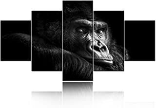 TUMOVO Large 5 Piece Animal Wall Art Black and White Paintings for Living Room Canvas Prints Wall Art Gorilla in Forest Pi...
