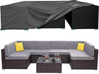 AKEfit Patio Furniture Covers, Outdoor Sectional Furniture Covers Waterproof Anti-UV, 420D Outdoor Rectangular Table and C...