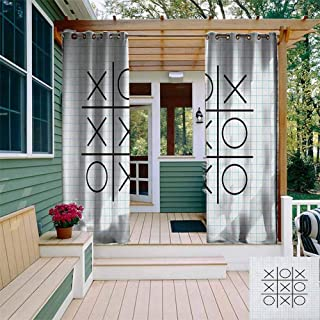 DONEECKL Outdoor Door Curtain Xo Tic Tac Toe Motif on Square Striped Notebook Background School Artistic Design Curtains for Living Room W108 x L72 Pale Blue Black