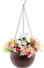 Hanging Planter -YIKUSH 8.66 in Round Decor Garden Rattan Plastic Flower Pot Basket for Plant,Brown
