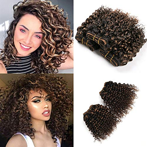 4 Pcs Double Drawn Brazilian Virgin Hair F1b 27 Curly Wave 8 Inch Sew In Human Hair Extensions Kinky Curly Ombre Honey Blond Wave