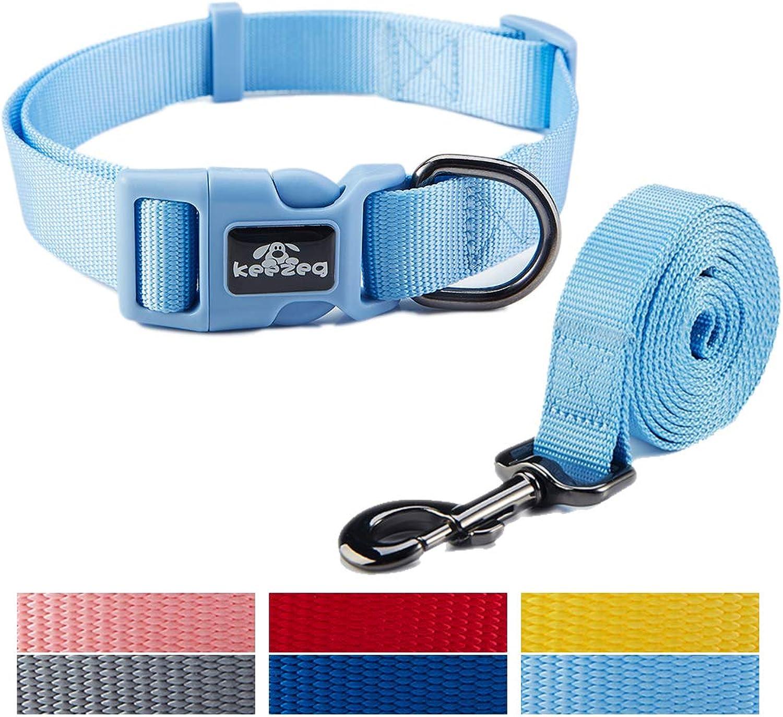 Keezeg Pet Dog Collar Leash Set, Adjustable Collars,Nylon Available Sizes for Small Medium Large Dogs (XLarge, Sky bluee)