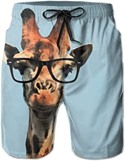 aa7b88e0bf SVVOOD Mens Beachwear Swim-trunks Quick-drying Funny Giraffe With  Sunglasses Surf Board Shorts