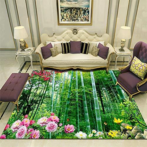 TANGYUAN alfombras Salon Grandes Natural Suave decoración - Sala de Estar Alfombra bambú Pintura de Paisaje Flores Frescas y Hermosas, delicadas y fáciles de limpiar-160x 230CM