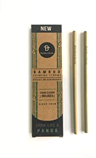 Pack of 12 Reusable and Biodegradable Bamboo Drinking Straws by BamBoo Roots - Plastic Drinking Straw Alternative - 100% Organic, BPA Free, Non-Toxic, and No Inks or Dyes - Straw Cleaner Included -