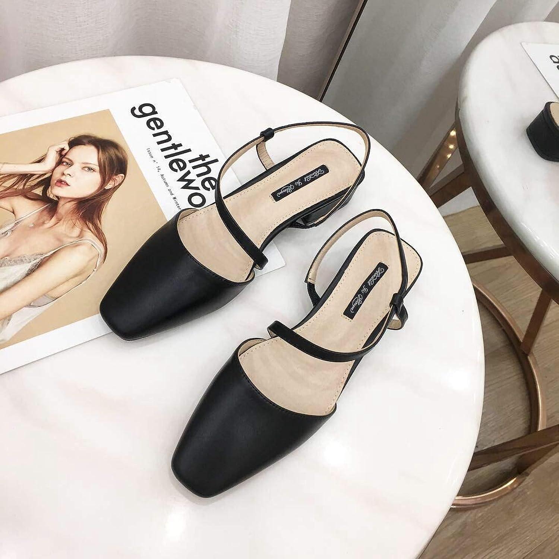 DNJKSA New Women's shoes Sandals 2019 Roman Square Head Shallow Korean Edition Hollow Rough Heel