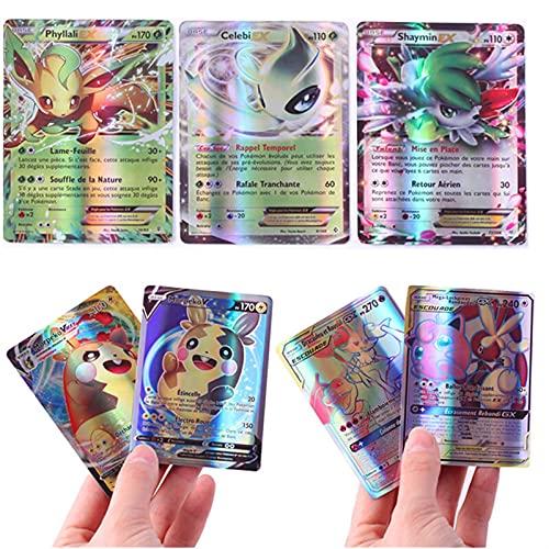 cardar Poker Art Card Kids GX Tarjetas de Comercio Tarjeta de Juegos de Dibujos Animados Brillante Battle Trading Francés versión Pokemon Juego (Color : 200GX 20EX 20MEGA FR)