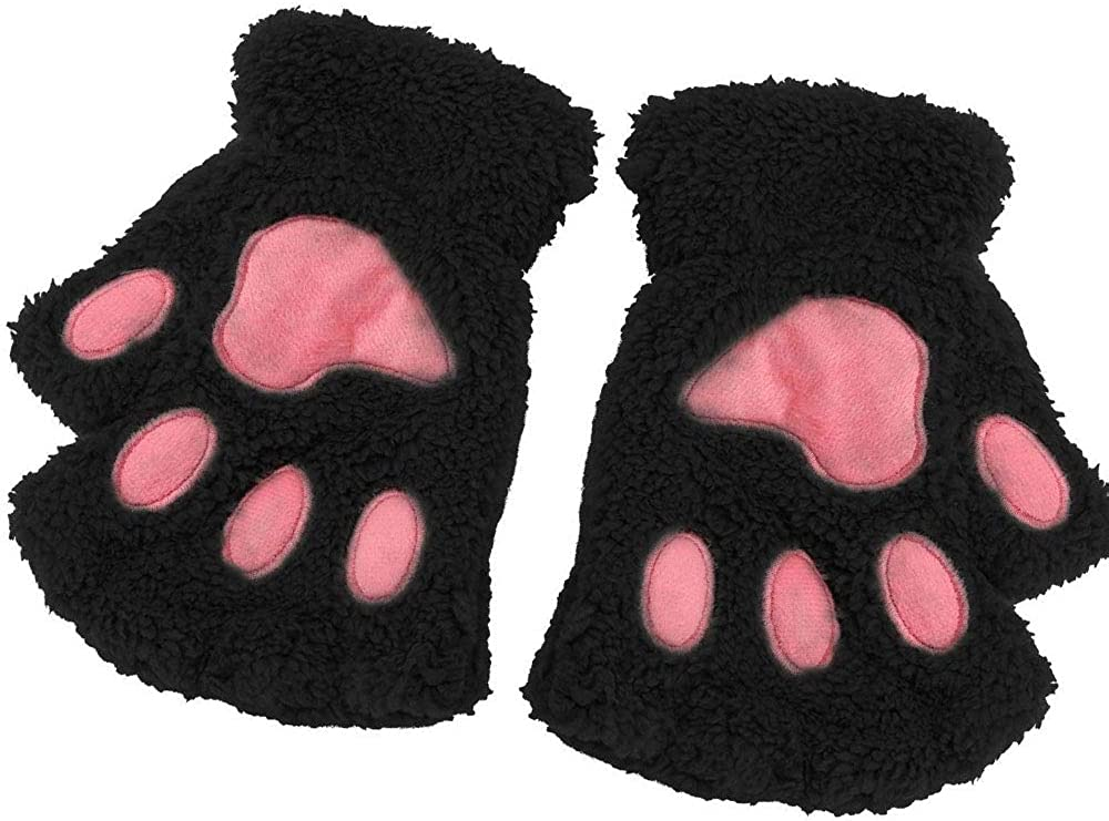 Cat Paw Gloves Fingerless Winter Warm Bear Plush Cute Gloves Black Besige Gray for Women