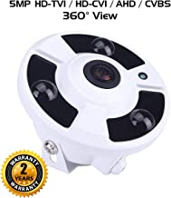 Ares Vision 4 in 1 5MP AHD/TVI/CVI/Analog Fish-Eye 180 Degree Super Wide View Camera w/IR Night Vision, Adjustable Mount