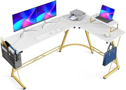 "wholesale Casaottima L Shaped Desk, 66"" Gaming Desk, Computer Desk, L Desk, Home new arrival Office Desk with Iron Hook, Movable Monitor Stand online Workstation, White Marble online sale"