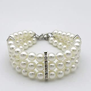 PetFavorites 3 Row White Pearls Diamond Dog Necklace Collar Jewelry with Bling Rhinestones for Pets Cats Small Dogs Girl Teacup Chihuahua Yorkie Clothes Costume Outfits
