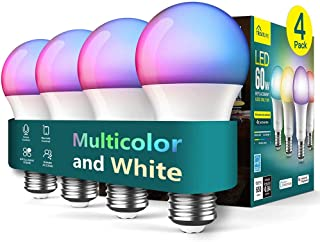 Smart Light Bulbs 4 Pack, Treatlife 2.4GHz Music Sync Color Changing Light Bulb, Works with Alexa Google Home, A19 E26 Dimmable LED Light Bulb 9W 800 Lumen for Party Decoration, Smart Home Lighting