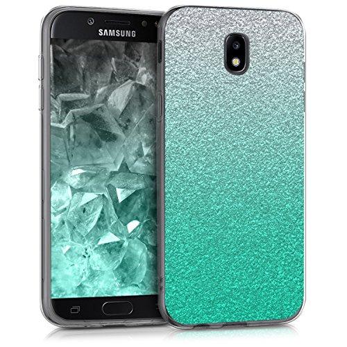kwmobile Hülle kompatibel mit Samsung Galaxy J7 (2017) DUOS - Handyhülle - Handy Hülle Glitzer Verlauf Petrol Silber Transparent