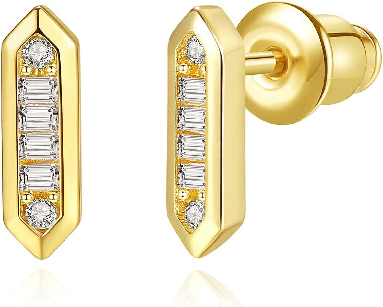 14K Gold Plated Cubic Zirconia Small Stud Earrings - Mini Bar/Baguette Cut/Round Cut CZ Earrings for Women