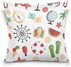 """MASSIKOA Summer Tropical Beach Watermelon Slippers Decorative Throw Pillow Case Square Cushion Cover 18"""" x 18"""" for Couch, ..."""