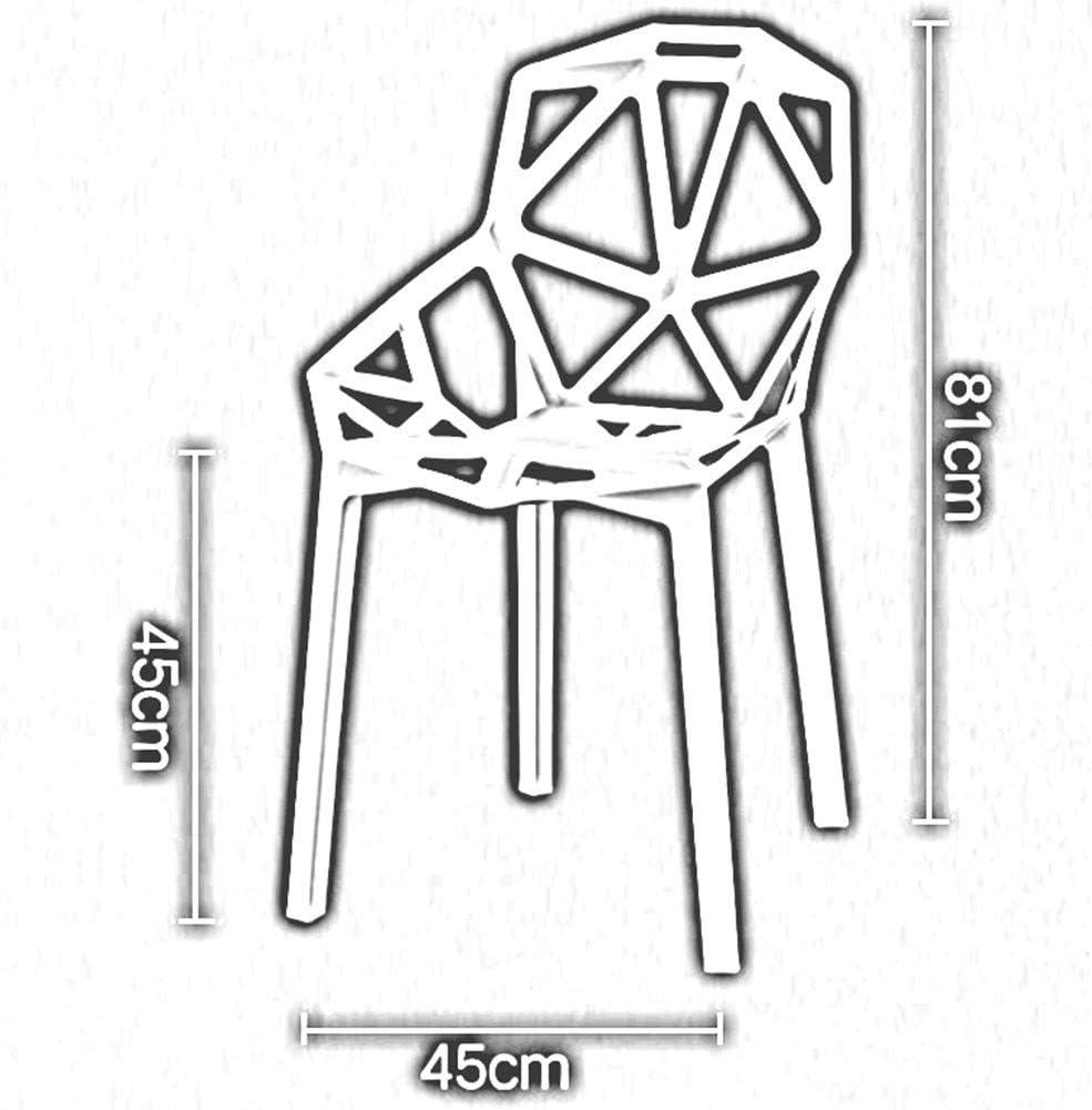 DALL Chaise De Salle À Manger Plastique Loisirs Modernes Chaise De Dossier Restaurant Chaise De Café 45X45X81CM (Color : Red) White