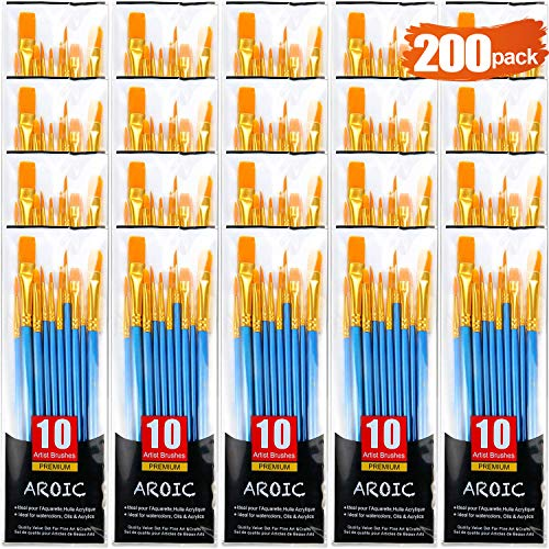 Acrylic Paint Brush Set, 5 Packs / 50 pcs Nylon Hair Brushes...