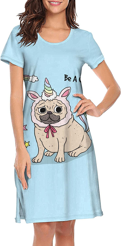 Cute Magic Unicorn Rainbow Fairy Wings Women Sleepwear Cute Loose NightgownShort Sleeve Sleepdress S-XXL
