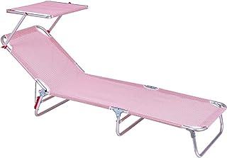 comprar comparacion LOLAhome Tumbona Playa con Visera Parasol de Aluminio con 3 Posiciones (Rojo y Blanco)