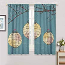 Jinguizi Lantern Drapes Panels Three Paper Lanterns Hanging on Branches Lighting Fixture Source Lamp Boho Curtains for Bedroom Teal Pale Yellow 96 x 72 inch