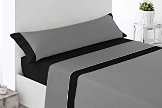 comprar comparacion ENERGY HOGAR - IMBRO - Juego SÁBANAS Completo 3 Piezas Verano (150_x_190/200_cm, Grey)