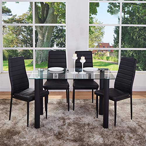 GOLDFAN Dining Table and 4 Chairs Rectangular Glass Kitchen Table and High Back Leather Chairs Dining Table Set,120 cm,Transparent