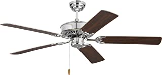 Monte Carlo 5HV52CH Haven Indoor Fan - 52'' Ceiling Fan in Chrome - 5 Blade Fan with Pull Chain Motor, Manual Reverse Switch