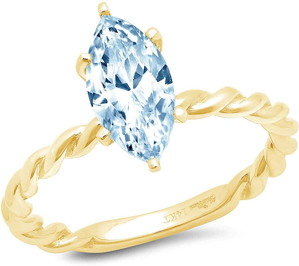 1.9ct Marquise Cut Solitaire Rope Twisted Knot Natural Sky Blue Topaz Ideal VVS1 6-Prong Engagement Wedding Bridal Promise Anniversary Ring Solid 14k yellow Gold for Women