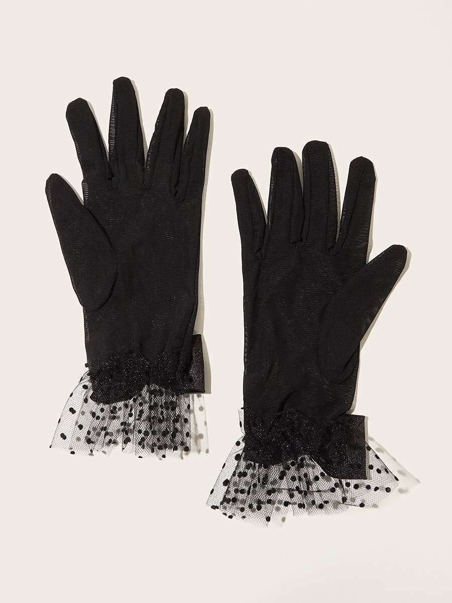 ZZTT Autumn and Winter Gloves Lace Bow Gloves Warm and Comfortable Gloves for Men or Momen (Color : Black, Size : One-Size)