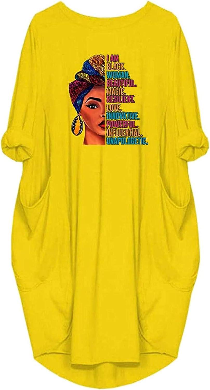 Women's Shirt Dress Summer Casual Loose Plus Size Long Sleeve Fashion Printed Pocket O-Neck Mid-Calf Maxi Dress