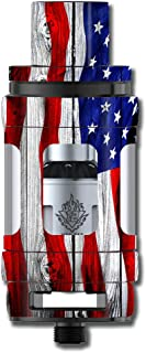Skin Decal Vinyl Wrap for Smok TFV12 Cloud Beast King Tank Vape Mod stickers skins cover/ American Flag on Wood
