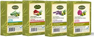 Kalliston | Olive Oil Soap Assorted aroma | Aloe, Pomegranate, Lavender & Rose | All Natural | Made in Ancient Crete, Greece | (Pack of 4)