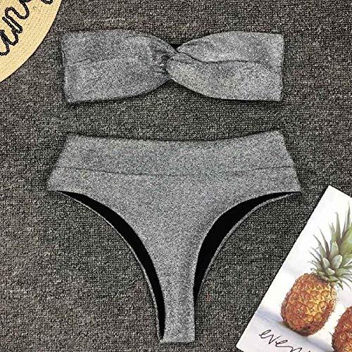 B/H Bañador Escote en V Traje de Baño de Una Pieza,Conjunto de Bikini Sexy con Purpurina Brillante de Bandeau,Traje de baño de Dos Piezas con Arco-F_M,Tankinis Mujer Bikini Playa Beachwear