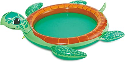 Summer Waves 73.5x78x22 Inch Inflatable Turtle Baby Pool with Water Sprayer