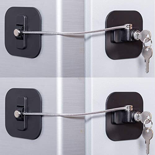 Fridge Lock,Refrigerator Lock with Keys, Freezer Lock and Child Safety Cabinet Lock with Strong Adhesive (Fridge Lock...