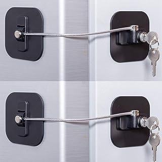 Fridge Lock,Refrigerator Lock with Keys, Freezer Lock and Child Safety Cabinet Lock with Strong Adhesive (Fridge Lock-Blac...