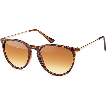 styleBREAKER Sonnenbrille mit großen ovalen Gläsern und Metall Bügel, Damen 09020085