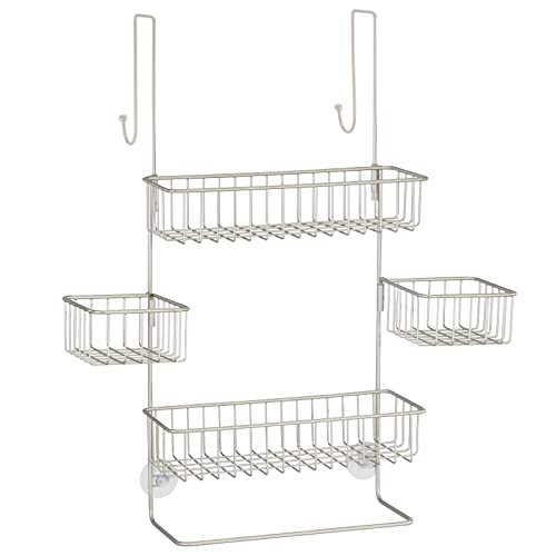 mDesign Extra Wide Metal Wire Over Door Bathroom Tub & Shower Caddy, Hanging Storage Organizer Center with Built-in Towel Holders and Baskets on 3 Levels - Center Baskets Swivel - Satin