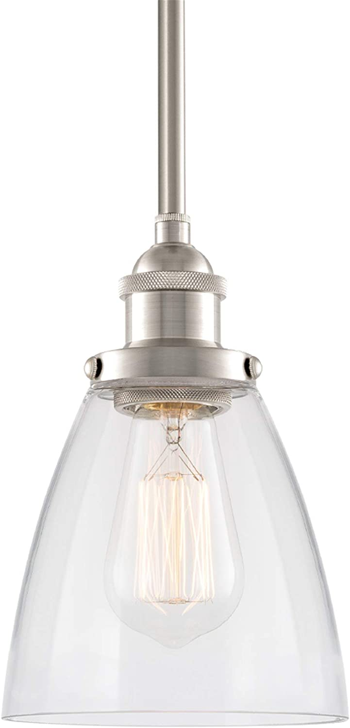 Kira Home Porter 8  Vintage Industrial Pendant Light + Mini Glass Shade, Dimmable, Adjustable Height, Brushed Nickel Finish