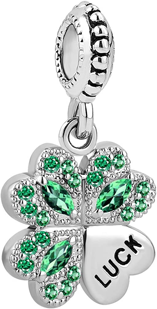 LovelyCharms Good Luck Four Leaf Clover Charm Dangle Bead for European Bracelet
