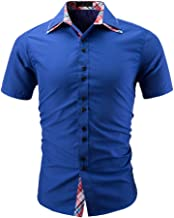 Cotton Casual Shirt, Mitiy Men's Solid Short Sleeve Button Down Slim Fit Business Dress Shirts