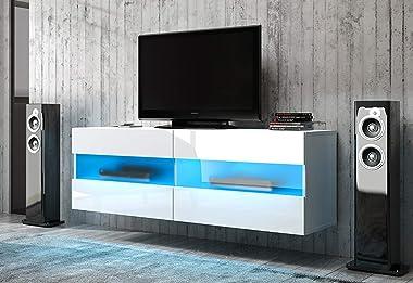PEGANE Meuble TV Design avec éclairage LED, Coloris Blanc Mat/Blanc Brillant - 100 x 40 x 35 cm