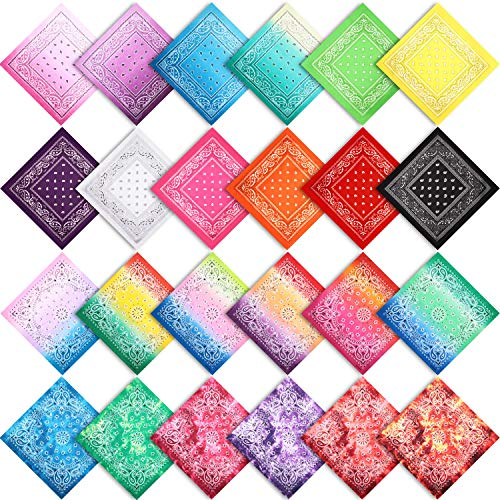 24 Piezas Pañuelos de Cabeza Paisley Bufanda Vaquera Estampada Colorida Envoltura de Cabeza Diadema para Mujer Hombre, Colores Surtidos, 22 x 22 Pulgadas