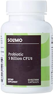Amazon Brand - Solimo Probiotic 5 Billion CFU, 8 Probiotic strains with 60 mg Prebiotic Blend, 60 Vegetarian Capsules, 2 M...