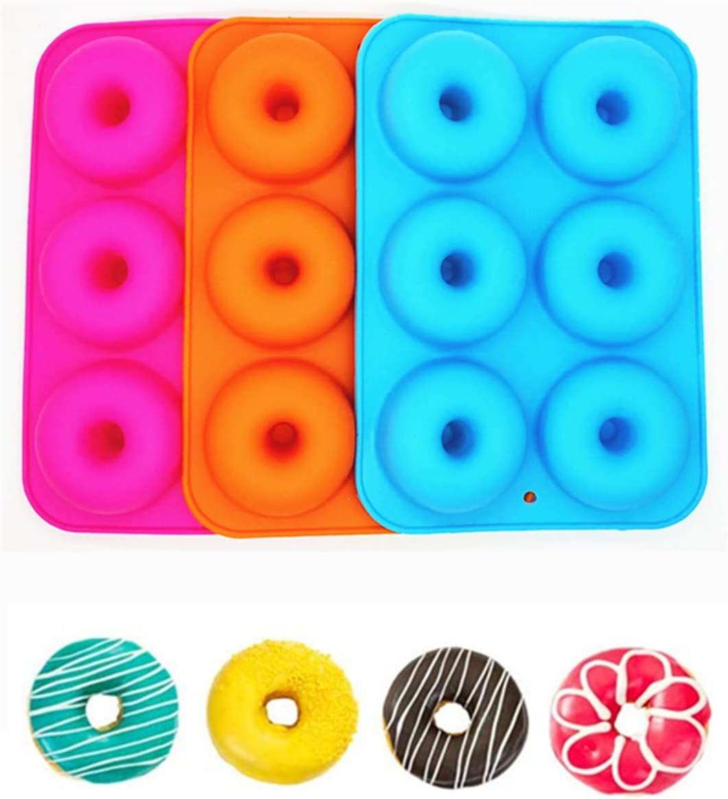 3 Pcs Silicone Donut Pan,Nonstick Silicone Donut Mold for Baking Shaped Doughnuts,Cake Biscuit Bagels