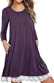kaifongfu T Shirt Dress with Pockets Women Long Sleeve Cotton Dress