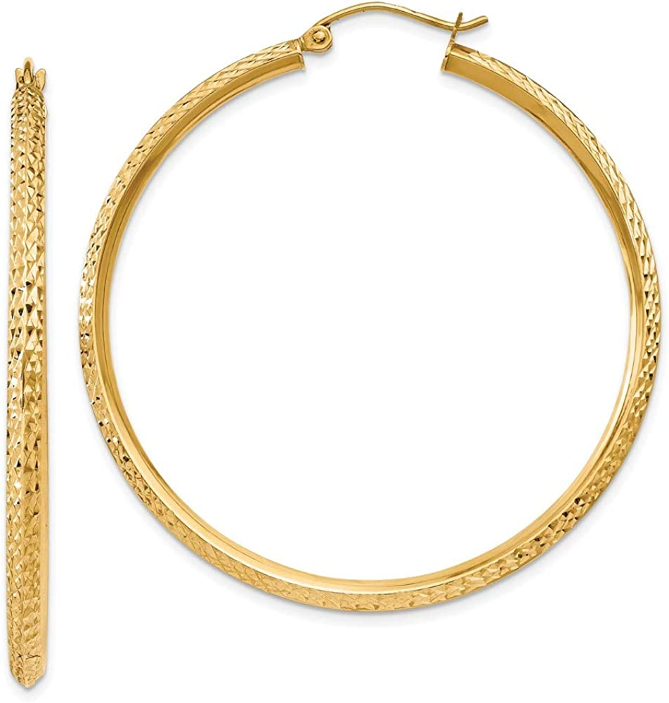 14k Yellow Gold Knife Edge Hoop Earrings Ear Hoops Set Round Fine Jewelry For Women Gifts For Her