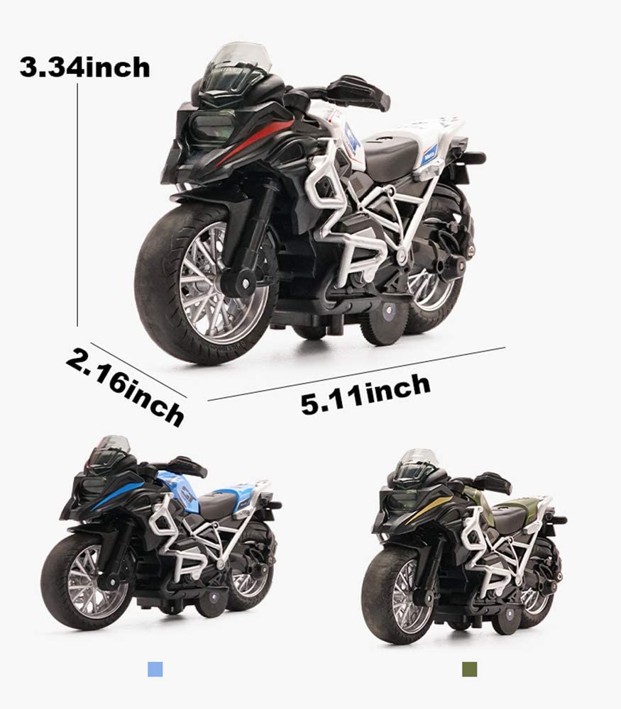 Green Friction Powered Die Cast Racing Motocross with Music Lighting Tiny Pullback Toy Gift for Christmas Brithday Gilumza Pull Back Vehicles Cross Country Motorcycle Toys