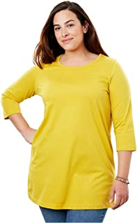 5e10f2d912d Woman Within Plus Size Perfect Scoop Neck Three-Quarter Sleeve Tunic